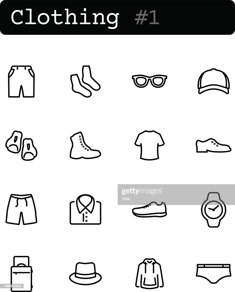 Set line thin icons. Vector. Shopping, clothing