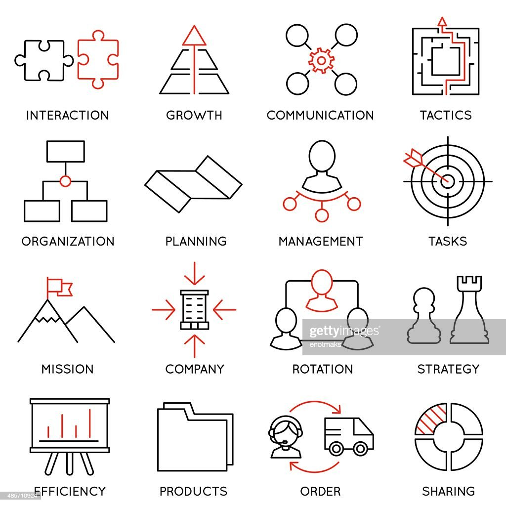 Set linear icons of business management, strategy- part 1