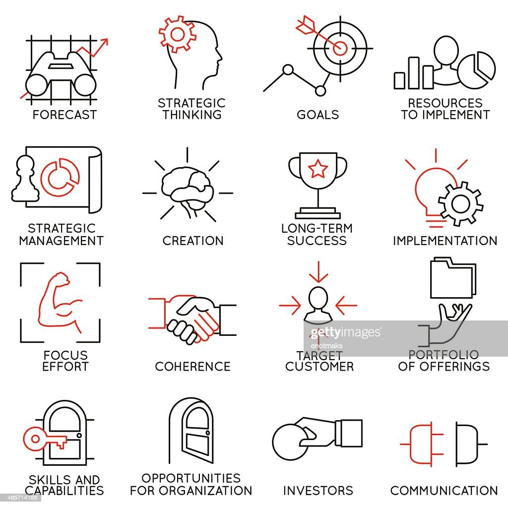Set linear icons of business management, strategy - part 2