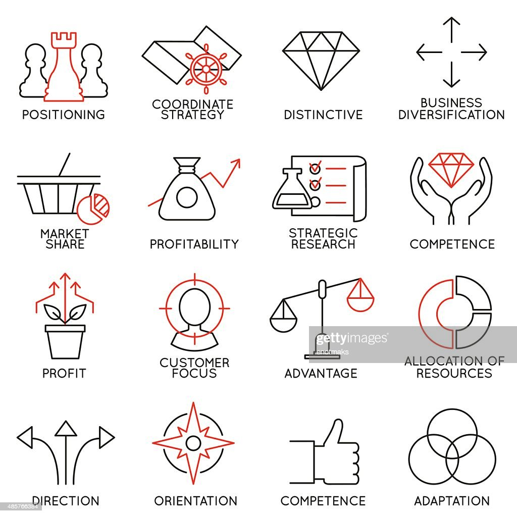 Set linear icons of business management, strategy - part 3