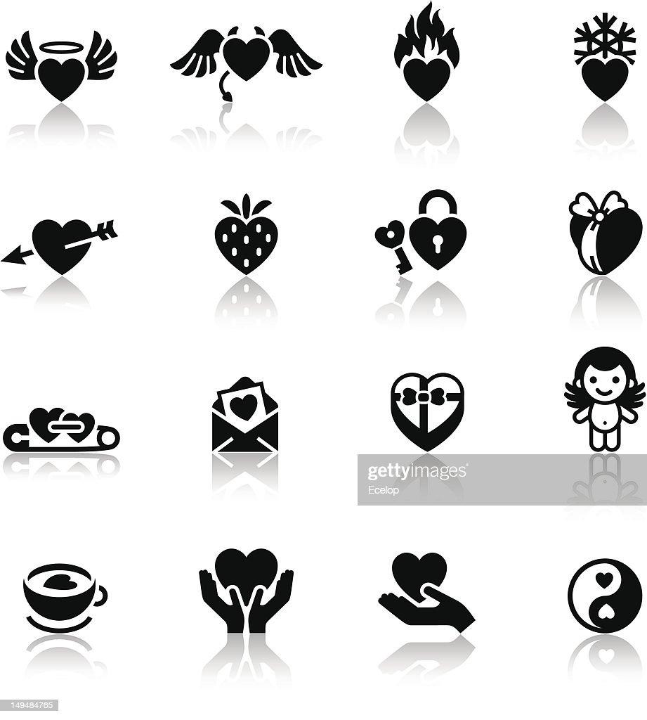 Set love black icons