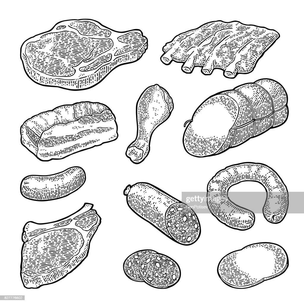 Set meat products. Vintage black vector engraving illustration. I