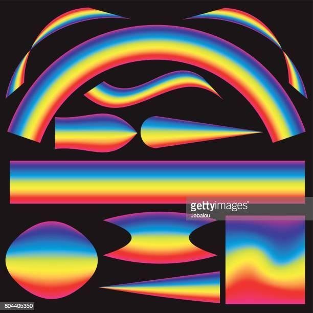 illustrazioni stock, clip art, cartoni animati e icone di tendenza di imposta oggetti colore spettro mesh - elettromagnetismo