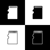 Set Micro SD memory card icons isolated on black and white background. Line, outline and linear icon. Vector Illustration