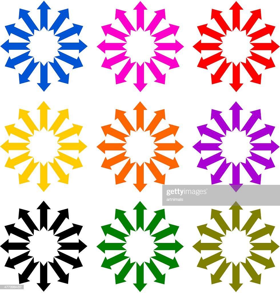 set multicolor arrow in a circle