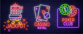 Set neon icon, label, emblem. Casino and Poker. Neon sign, bright signboard, light banner.