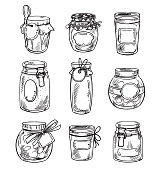 Set od hand drawn mason jars with jam, vector illustration