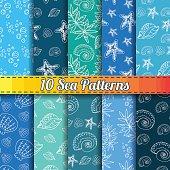 Set of 10 marine seamless patterns, underwater backgrounds
