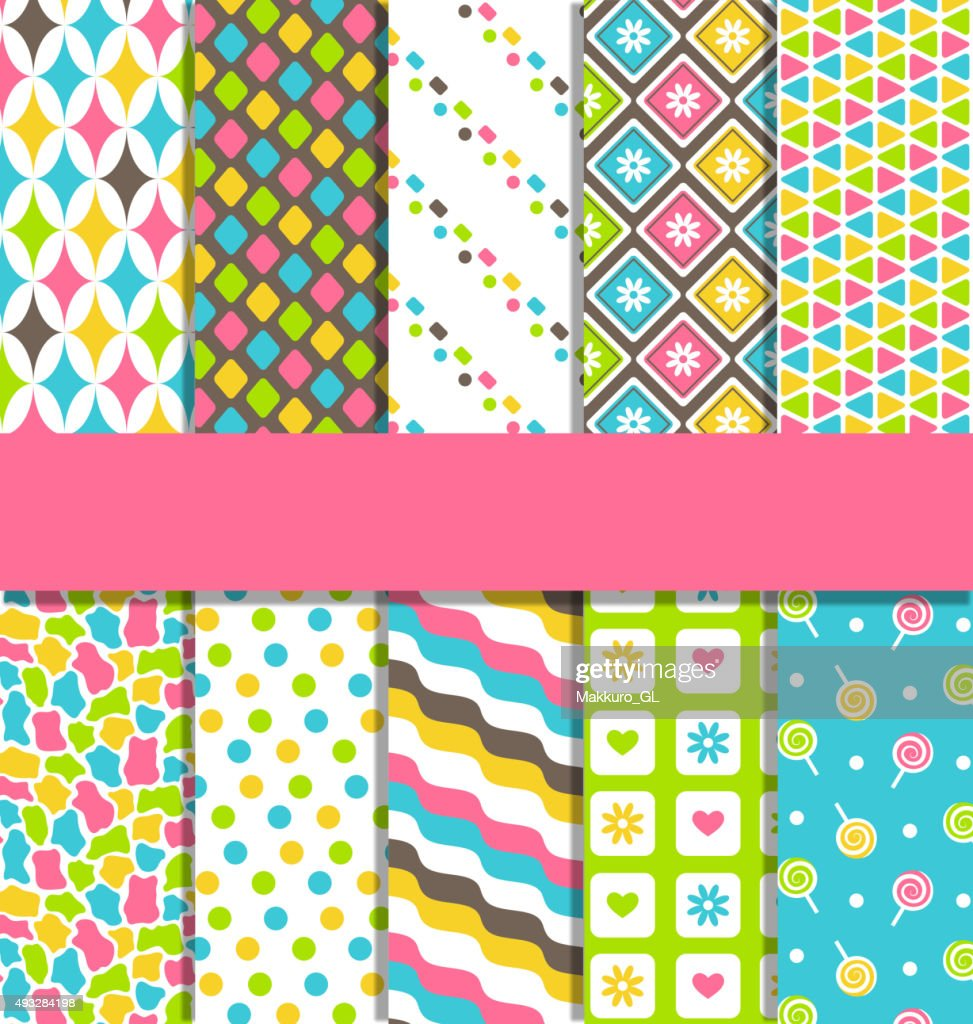 Set of 10 seamless bright abstract patterns