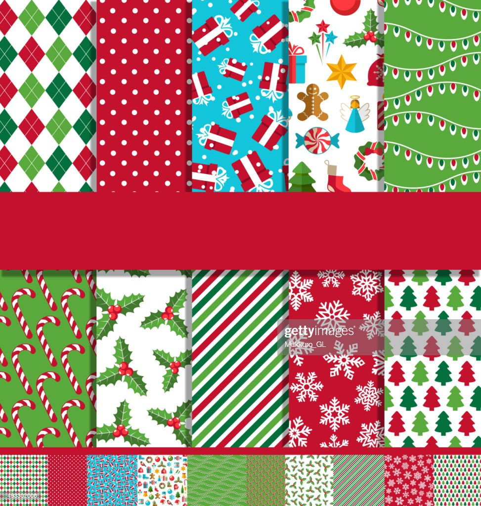 Set of 10 Seamless Bright Christmas Patterns