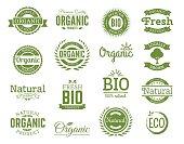 set of 100% bio, natural, organic, eco, healthy, food logos