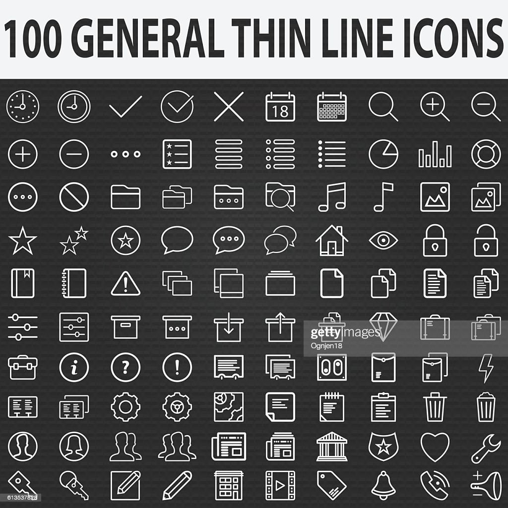 Set of 100 Thin Line Stroke General Icons Vector Illustration