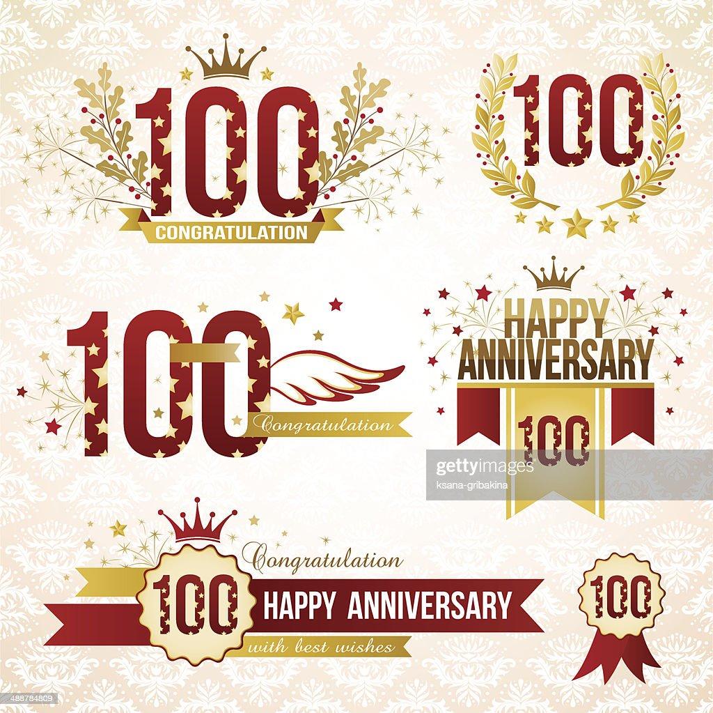 Set of 100th anniversary emblems.