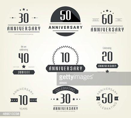 set of 10th 20th 30th 40th 50th 60th anniversary logo vector art