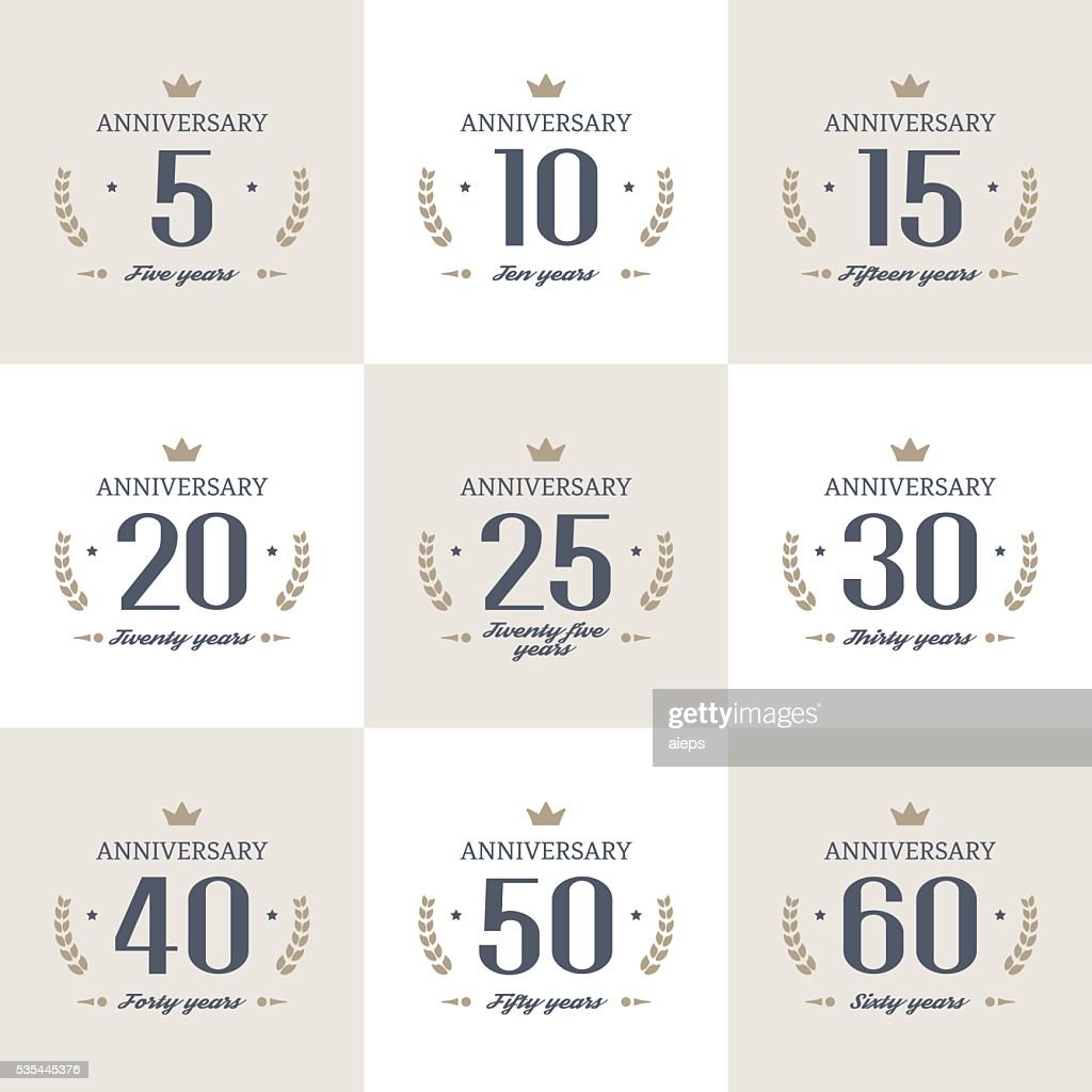 Set of 10th, 20th, 30th, 40th, 50th, 60th anniversary logo.