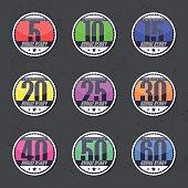 Set of 10th, 20th, 30th, 40th, 50th anniversary logo, sticker.