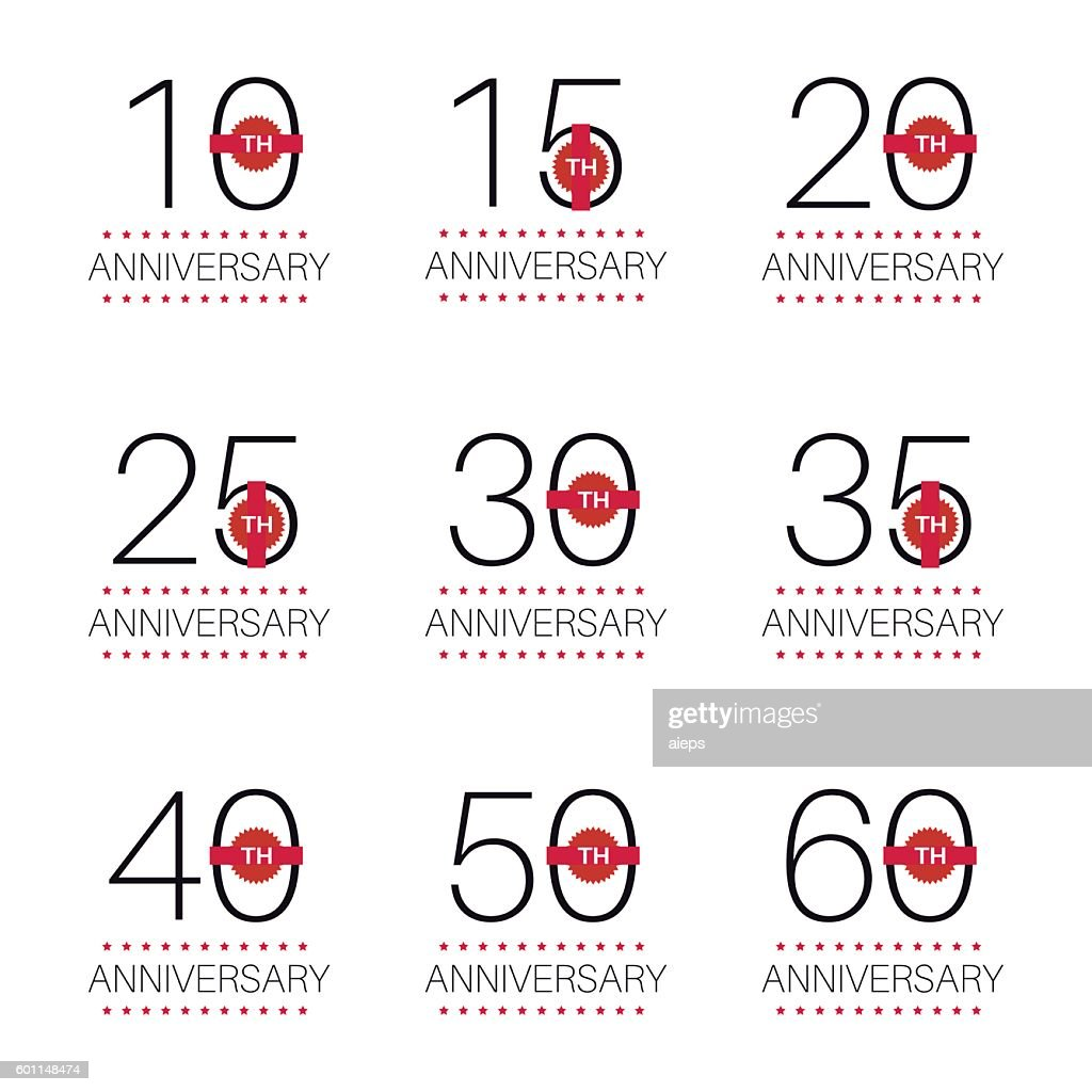 Set of 10th, 20th, 30th, 40th, 50th anniversary logo.