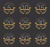 Set of 10th, 20th, 30th, 40th, 50th anniversary logo.