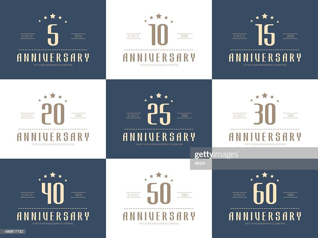 Set of 10th, 20th, 30th, 40th, 50th jubilee logo.