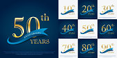 set of 10th-90th elegance golden anniversary celebration emblem with blue ribbon, anniversary logo design for web, game, poster, booklet, leaflet, flyer, magazine, greeting card and invitation card