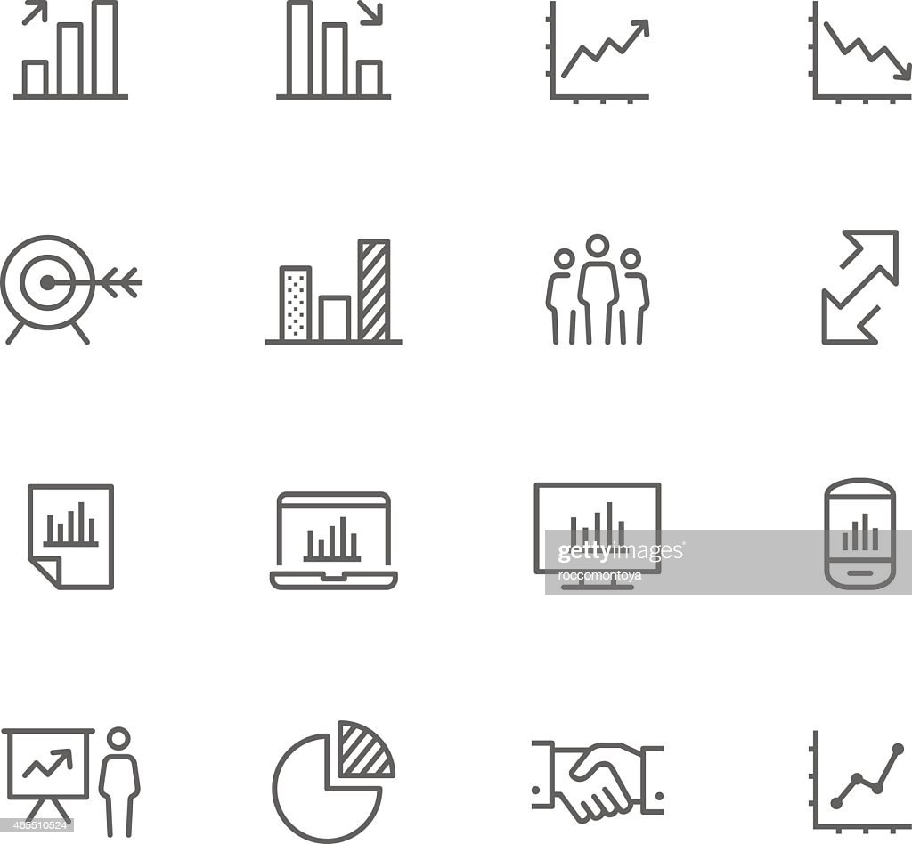 Set of 12 black-and-white business icons : Stock Illustration
