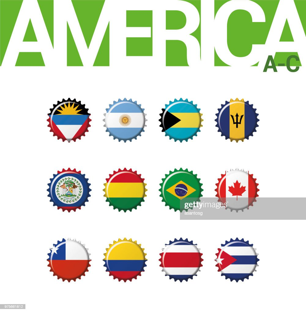 Set of 12 bottlecap flags of America (A-C). Set 1 of 3. Vector Illustration. Antigua and Barbuda, Argentina, Bahamas, Barbados, Belize, Bolivia, Brazil, Canada, Chile, Colombia, Costa Rica, Cuba.