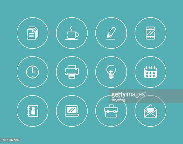 set of 12 circles with office icons in white other blue - other stock illustrations, clip art, cartoons, & icons