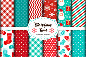 Set of 12 cute seamless Christmas Time patterns with traditional ornaments