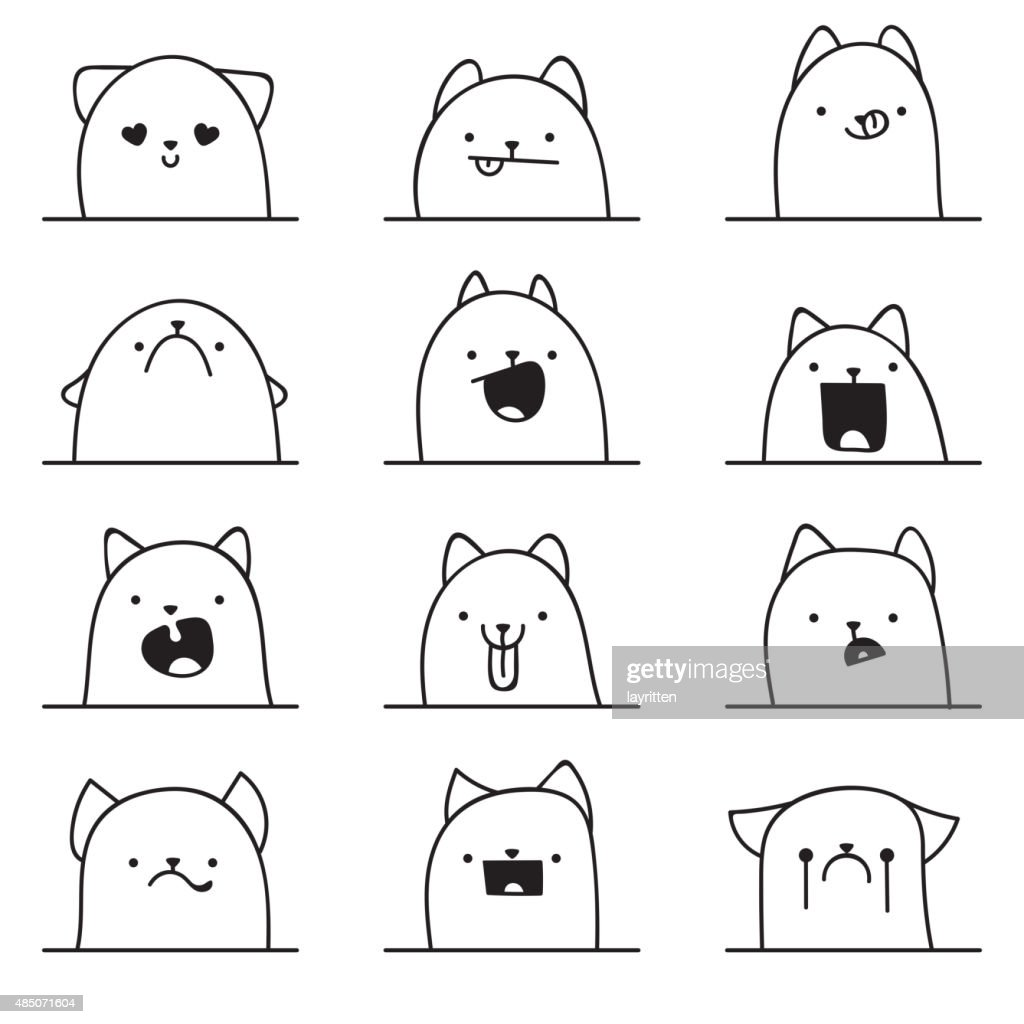 Set of 12 different emotions cat. Anime doodle design