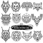 Set of 12 drawings of wild animals in ethnic style