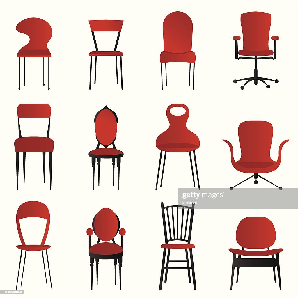 Set of 12 red and black chairs of different varieties