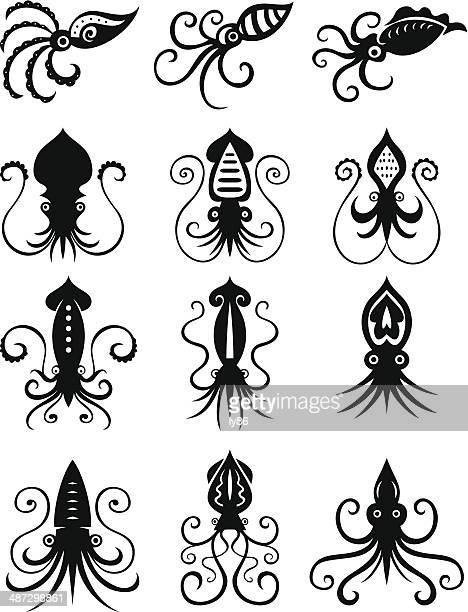 Set of 12 Squid icons