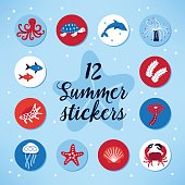 Set of 12 summer stickers with octopus, turtle, dolphin, polyp