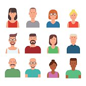 Set of 12 vector characters in flat minimal style.