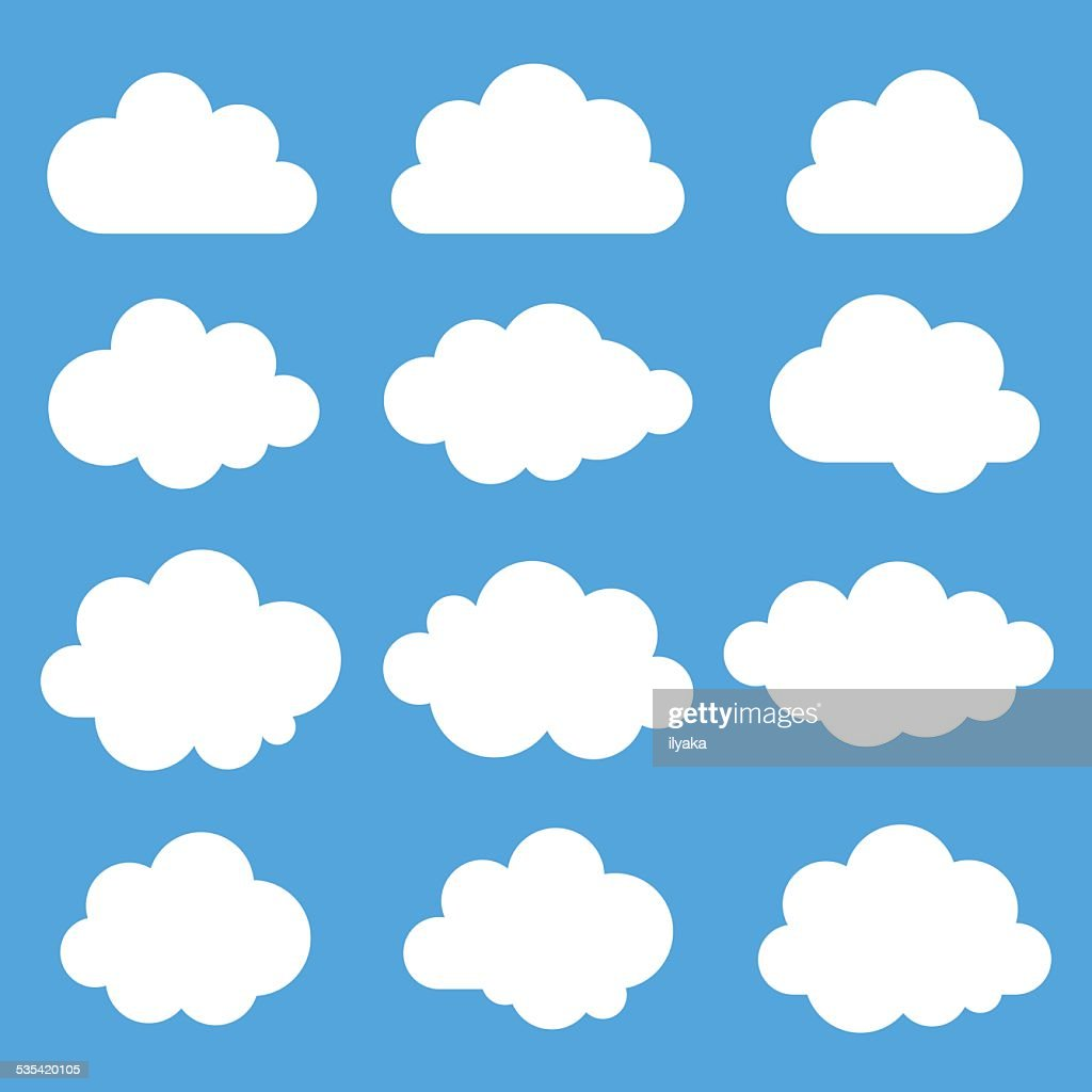 Set of 12 white clouds