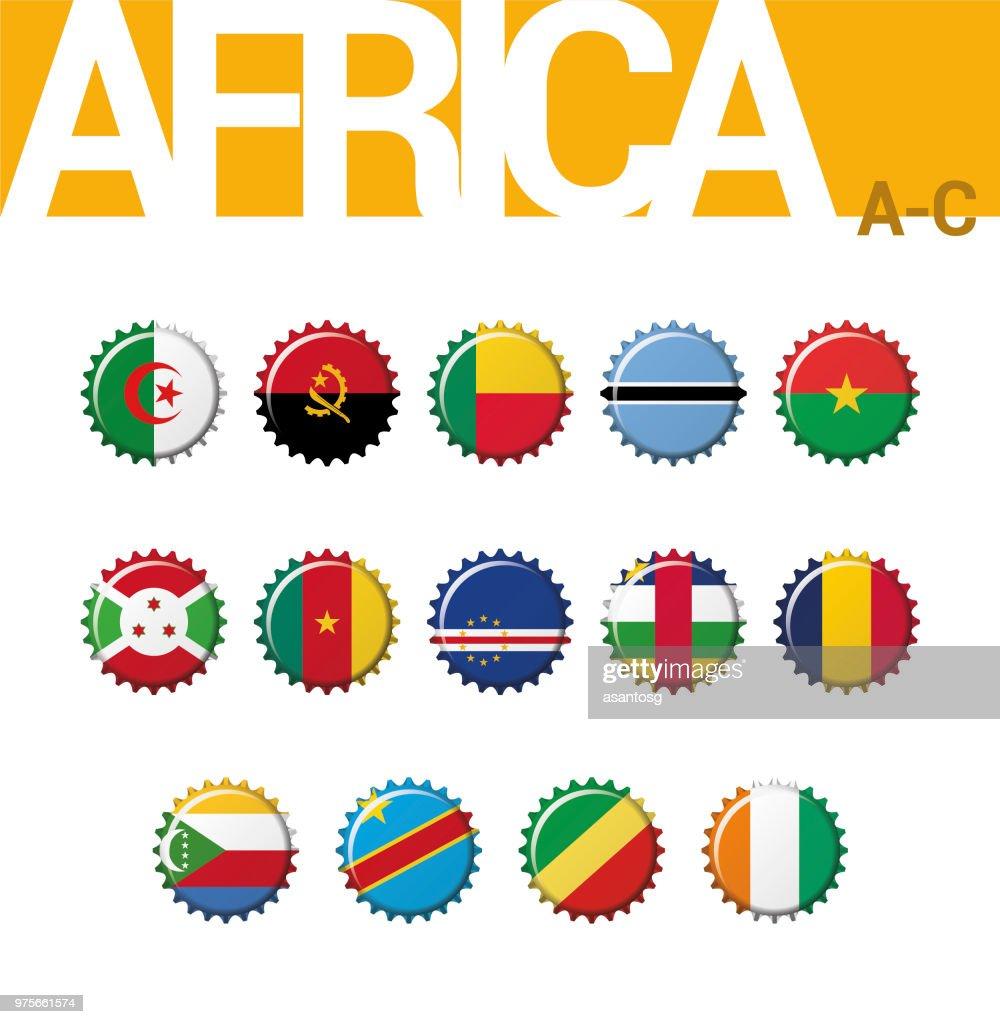 Set of 14 bottle cap flags of Africa (A-C). Set 1 of 4. Vector Illustration. Algeria, Angola, Benin, Botswana, Burkina Faso, Burundi, Cameroon, Cape Verde, Central African Rep, Chad, Comoros, Congo (Democratic Rep), Congo, Cote d´Ivoire.