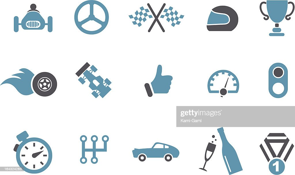 Set of 15 blue and black racing icons