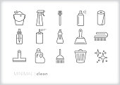 Set of 15 house cleaning line icons of tools to scrub, wash and tidy up the kitchen, living room, bedroom or whole house