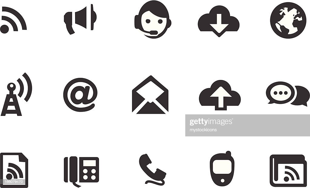 A set of 15 icons related to communication
