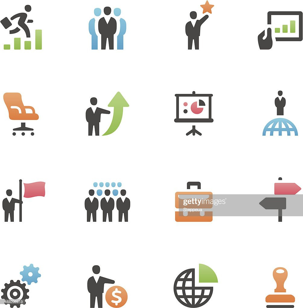 Set of 16 assorted business icons