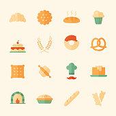 Set of 16 bakery flat icons.