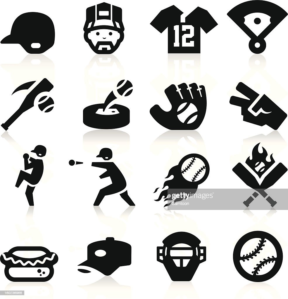 A set of 16 black, baseball-related icons