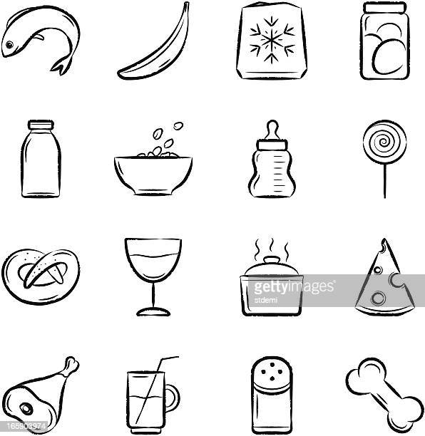 set of 16 black food icons on white background - pet equipment stock illustrations, clip art, cartoons, & icons