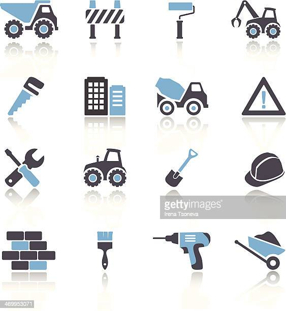 Set of 16 blue and white construction icons