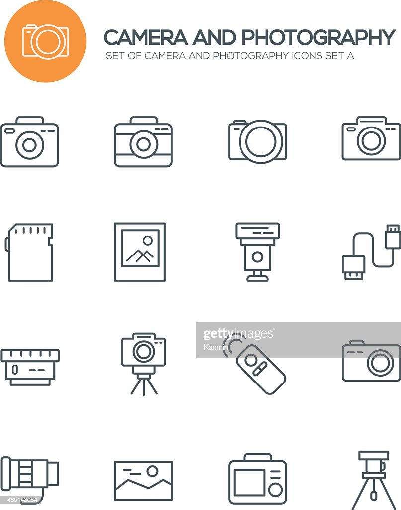 Set of 16 Camera and Photoraphy Modern Line icons