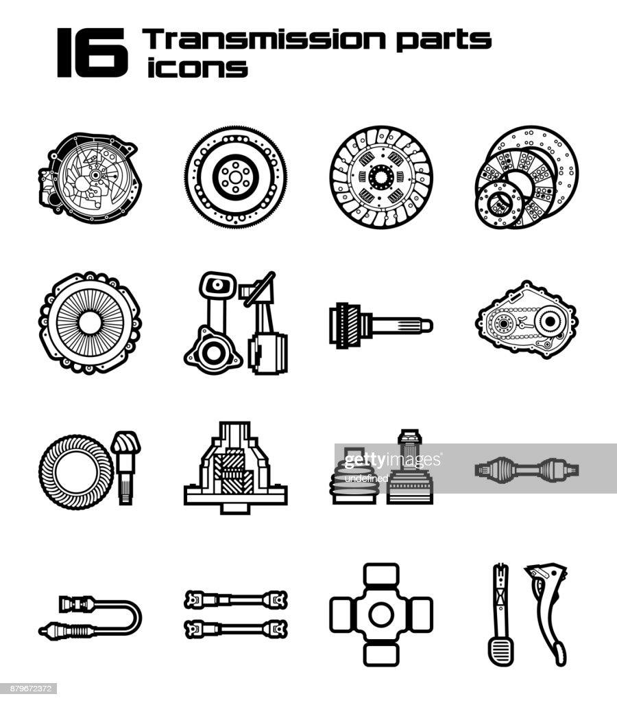 Set Of 16 Car Parts Icons Auto Details Vector Art | Getty Images