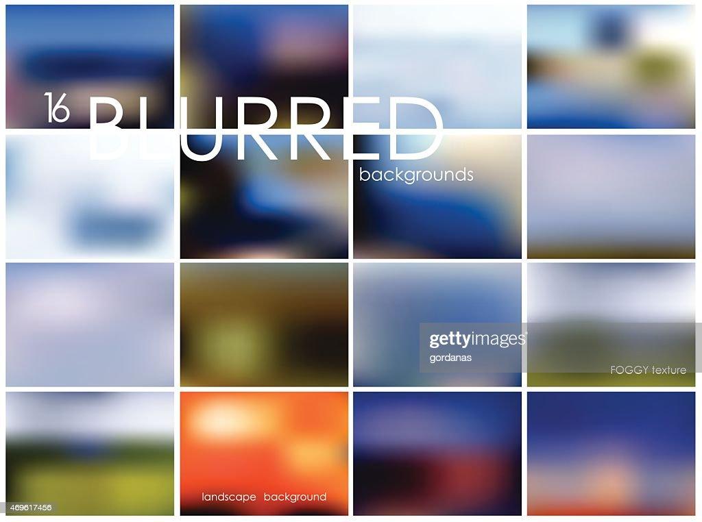 Set of 16 different landscape blurred backgrounds. Set No. 12.