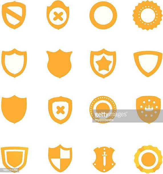 Set of 16 different yellow shield icons