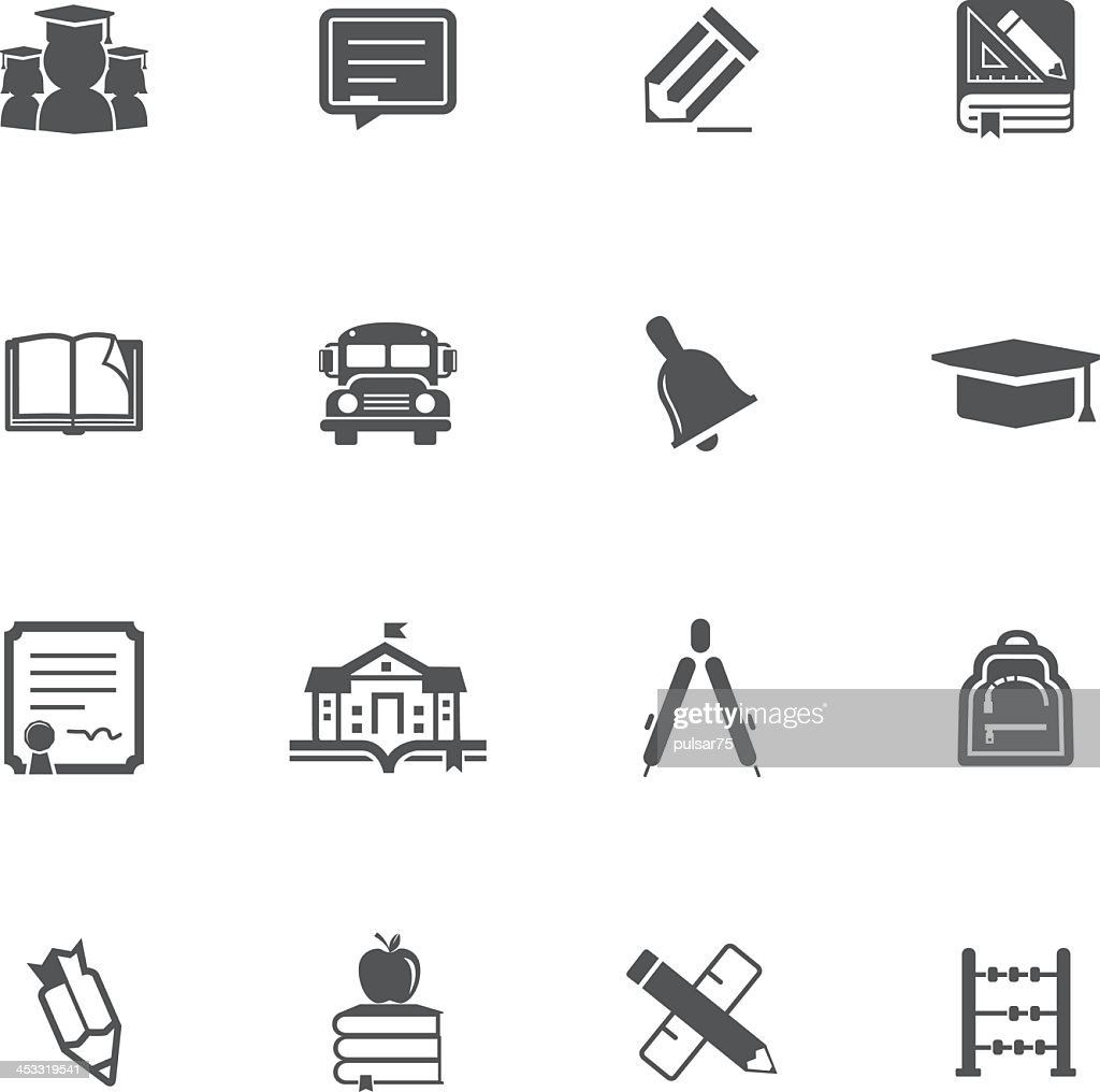 Set of 16 education-related icons in black and white
