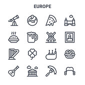 set europe concept vector line icons
